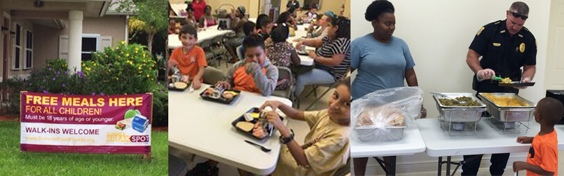 Featured on this photo collage from left to right: 1) A sign on the yard for 'Free Meals Here For All Children! Walk-ins Welcome'. 2) Children eating their meals together. 3) Marshall Matt Anderson serving lunch to one of the children.